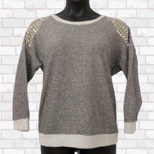 Katie K Gray Jewel Shoulder Top – Size L